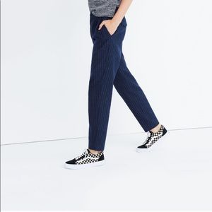 Madewell navy and white pinstripe trousers